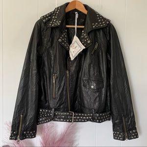 New For Joseph Studded Leather Moto Jacket Genuine